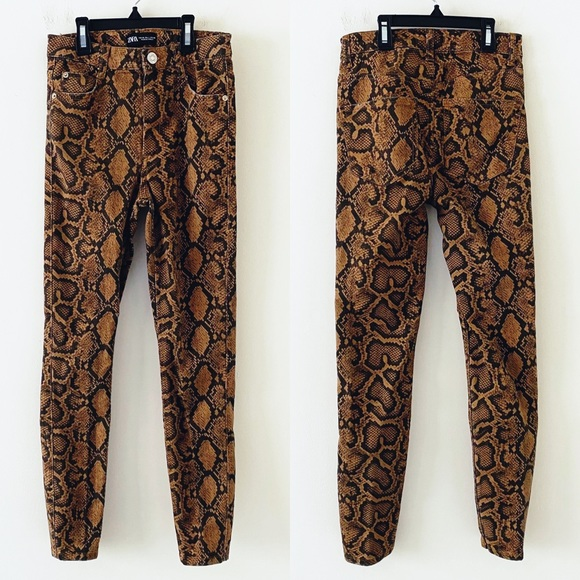 ZARA Brown Snakeskin High Rise Skinny Jeans
